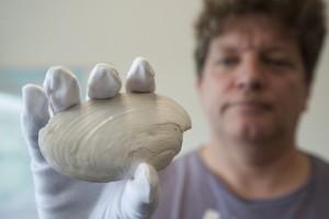 Frank Wesseling met de schelp uit Naturalis